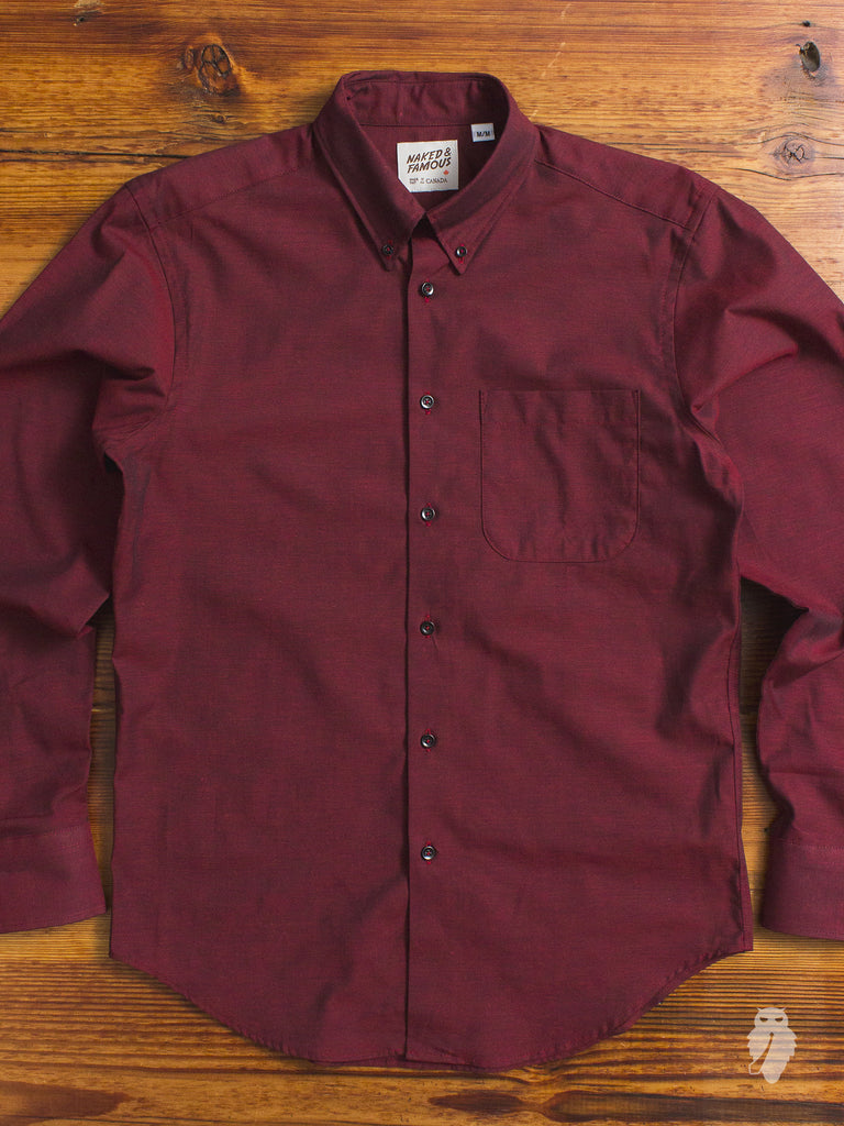 """Shadow Oxford"" Button Down Shirt in Red"