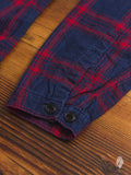 Mismatch Frayed Button Down Shirt in Red/Indigo