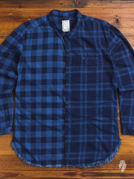 Mismatch Frayed Button Down Shirt in Indigo