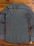 Cotton Cashmere Thermal Crewneck Sweater in Black