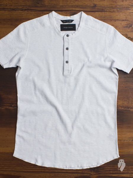 1x1 Slub Short Sleeve Henley in White