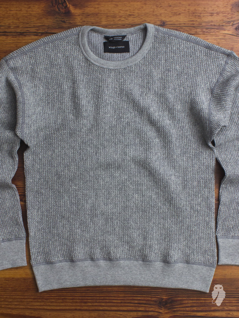 Knit Wool Crewneck Sweater in Heather Grey