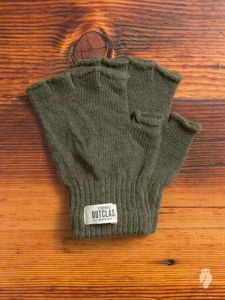 Fingerless Wool Gloves in Olive