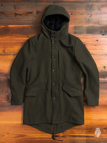 Wool Fishtail Parka in Loden Green