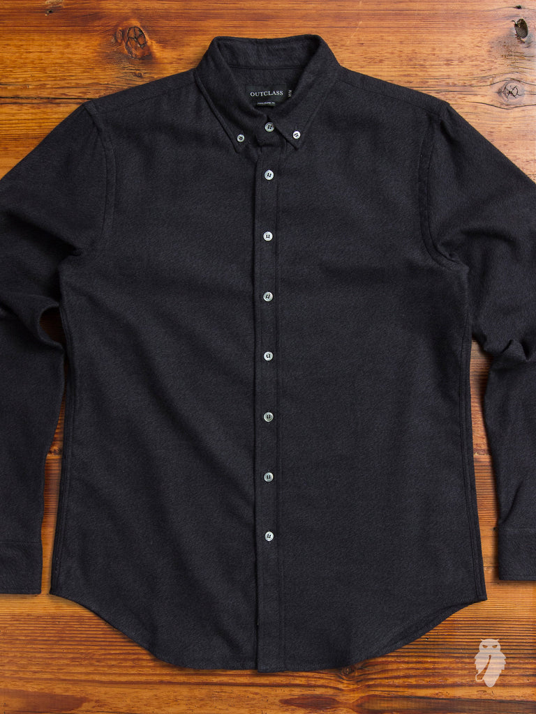 Heather Twill Brushed Flannel in Charcoal