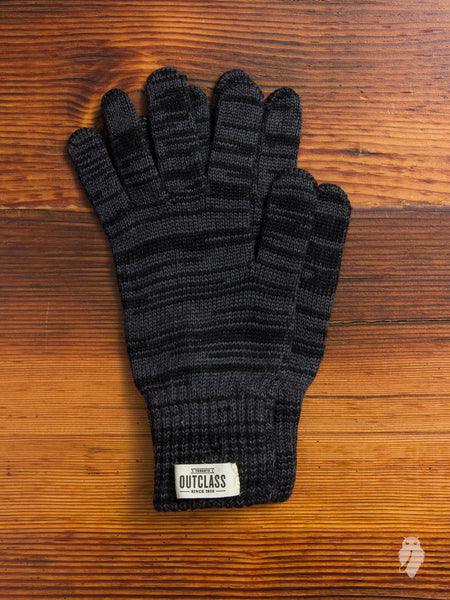 Melange Wool Gloves in Black