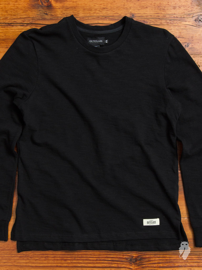 Slub Long Sleeve T-Shirt in Double Black
