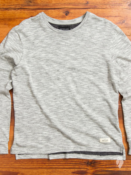 Slub Long Sleeve T-Shirt in Mixed Grey