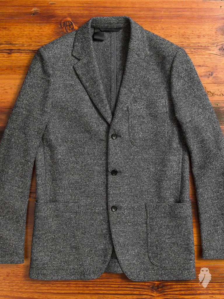 Marbled Wool Blazer in Charcoal