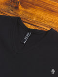 Ribbed V-Neck T-Shirt in Black