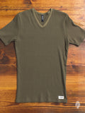 Ribbed V-Neck T-Shirt in Olive