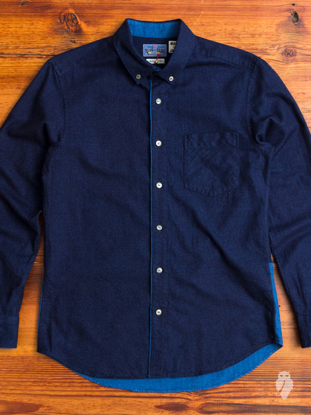 Combination Flannel Shirt in Deep Indigo