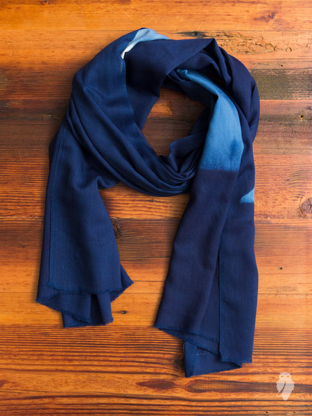 """Mt. Fuji"" Wool Scarf in Indigo"