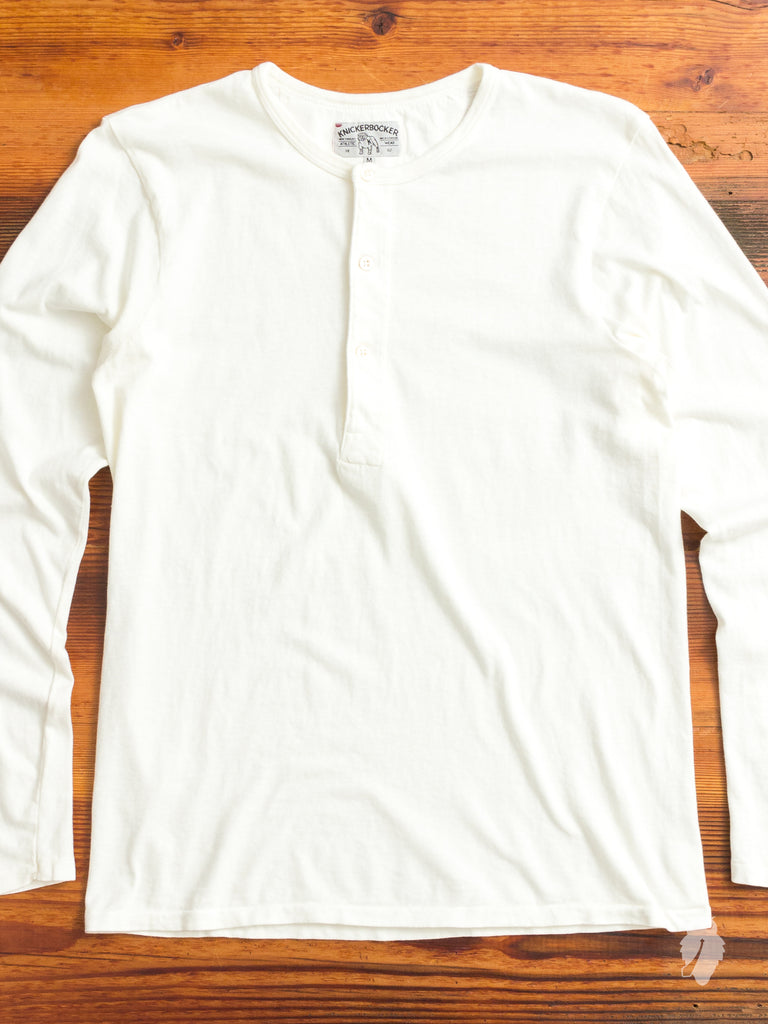 Tube Knit Long Sleeve Henley in White