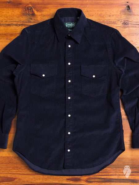 Corduroy Western Shirt in Navy