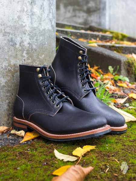 """Commando Trench Boot"" in Waxed Black"