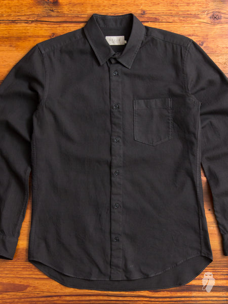 Wool Button Down Shirt In Black Blue Owl Workshop