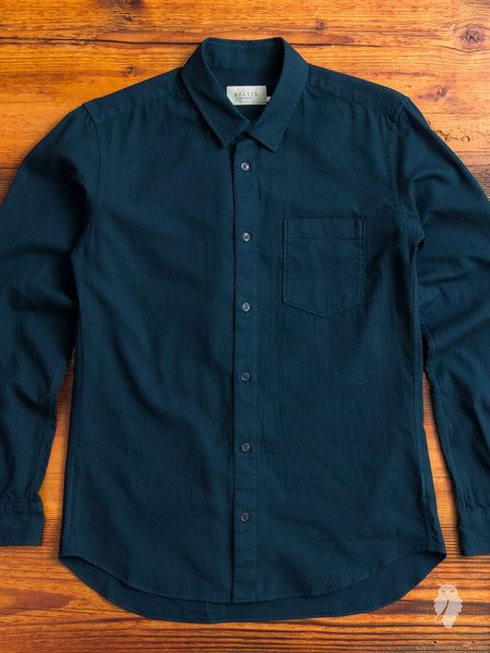 Wool Button-Down Shirt in Emerald