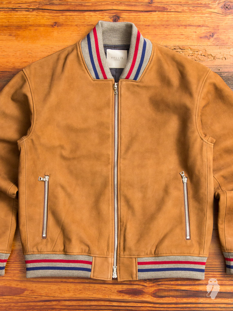 Nubuck Stadium Jacket in Brown