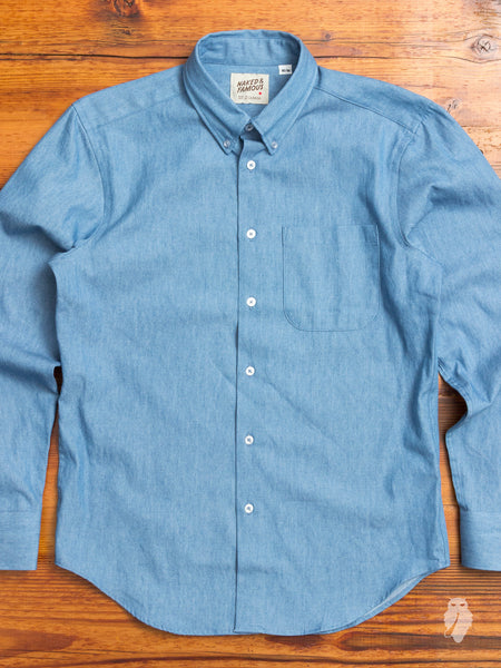 Lightweight Denim Button Down Shirt in Faded Indigo