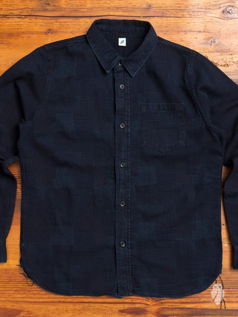 Jacquard Patchwork Button Up Shirt in Deep Indigo