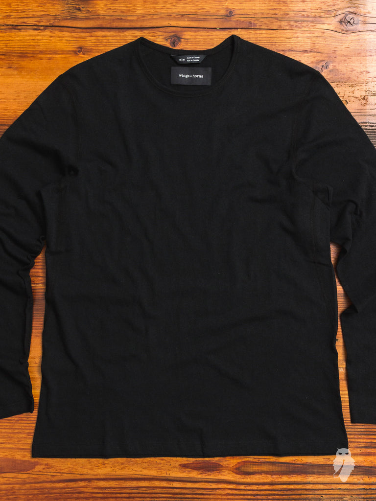 Premium Jersey Long Sleeve T-Shirt in Black