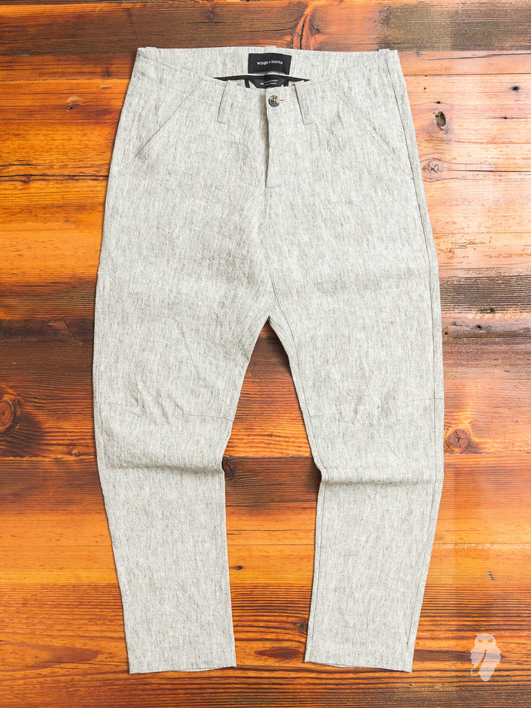 Washed Linen BDU Pants in Ash Grey