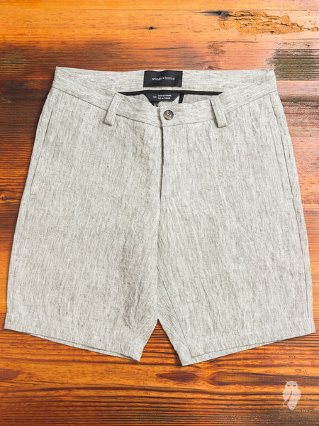Washed Linen Officer Shorts in Ash Grey