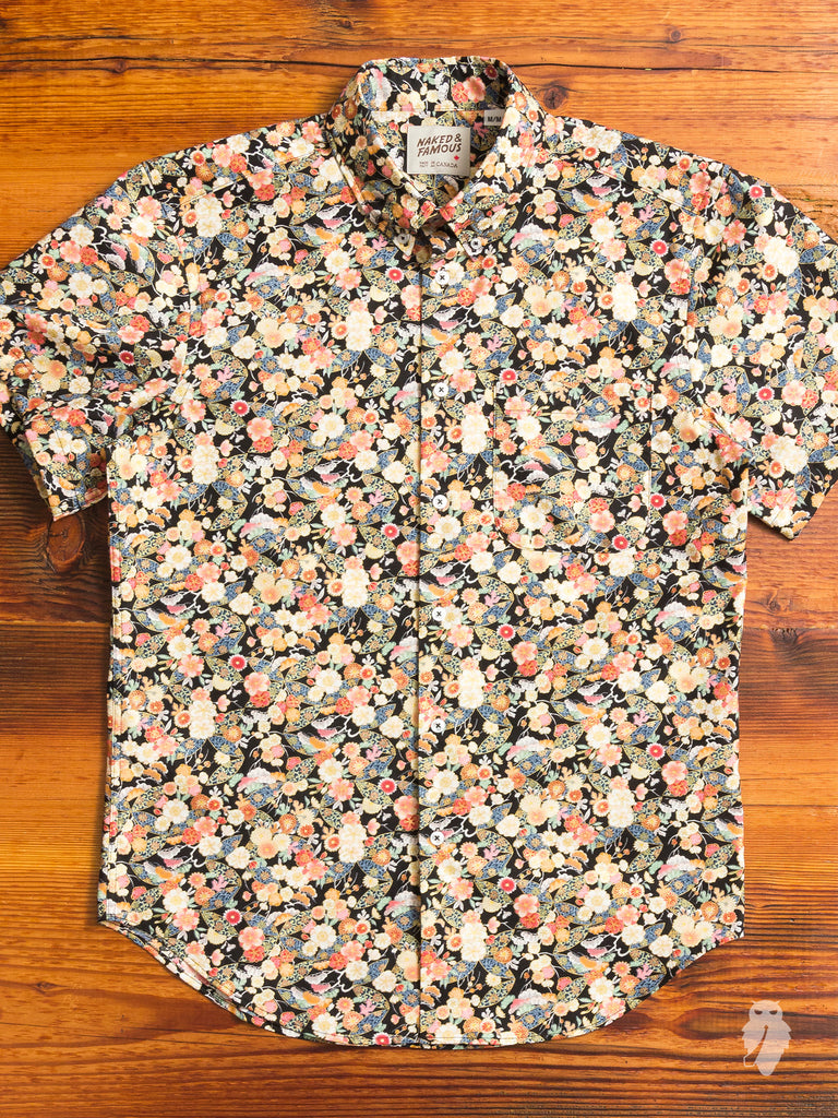 """Festival Flowers"" Button Down Shirt in Coral"
