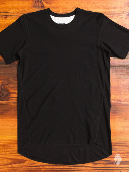 Curve Hem Air Twill Tee in Black