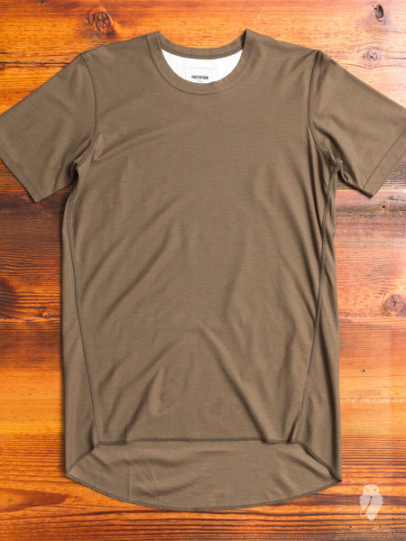 Curve Hem Air Twill Tee in Olive