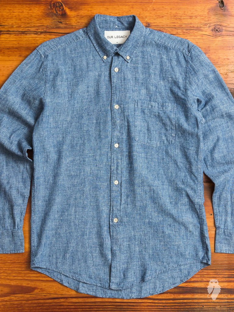 1940s button down shirt in indigo chambray blue owl workshop for Indigo button down shirt