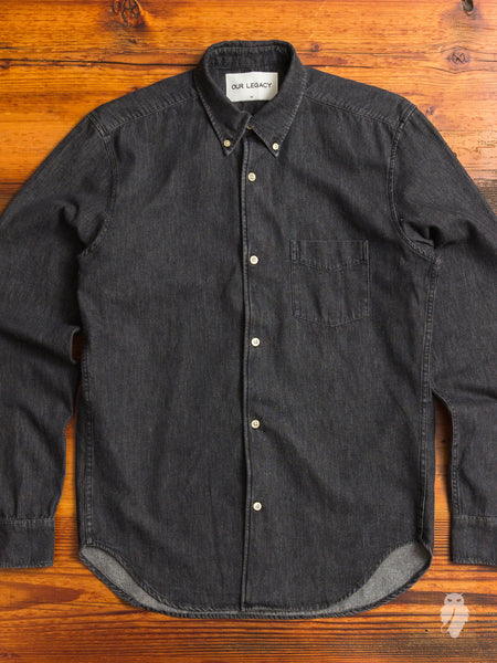 1950s Button Down Shirt in Black Denim
