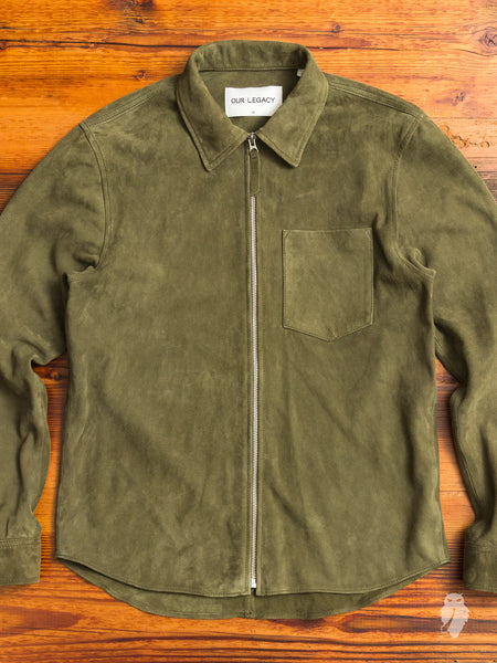 Suede Zip Shirt in Birch