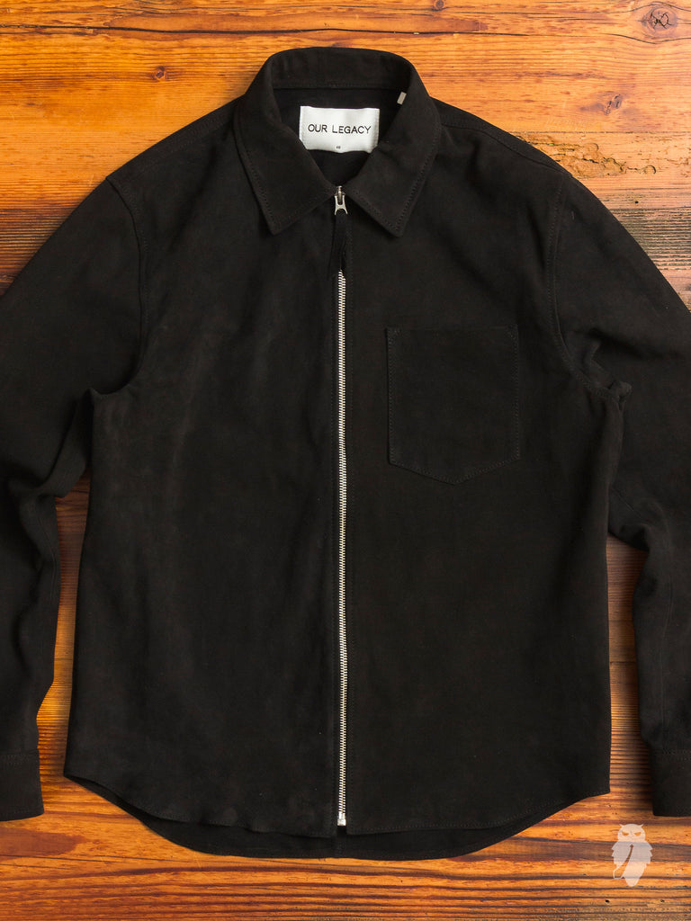 Suede Zip Shirt in Black