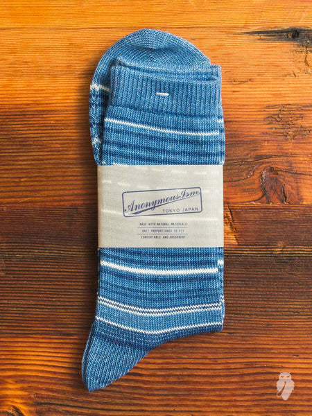 African Stripe Crew Sock in Washed Indigo