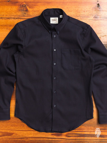Dobby Needle Cloth Button Down Shirt in Navy