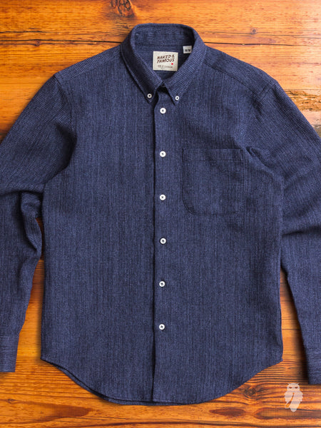 """Hank-Dyed Speckled Waffle"" Button Down Shirt in Indigo"