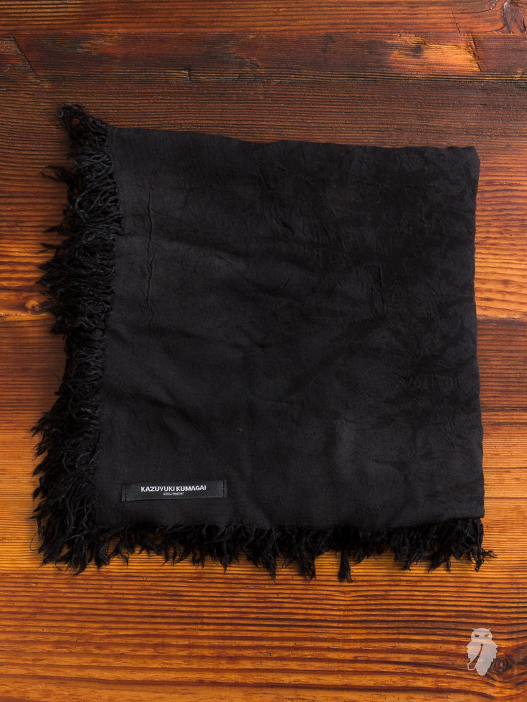 Distressed Fringe Scarf in Black