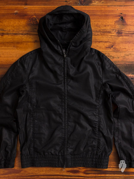 Tencel Zip-Up Hoodie in Black