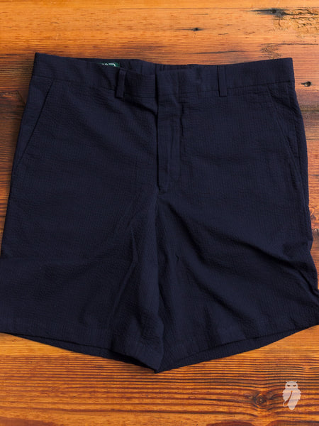 Overdye Seersucker Shorts in Navy
