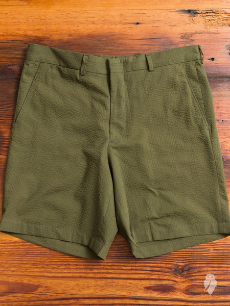 Overdye Seersucker Shorts in Olive