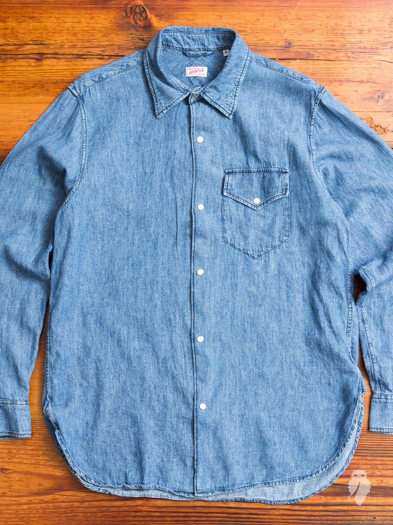 """Ted"" Denim Shirt in Bleached Indigo"