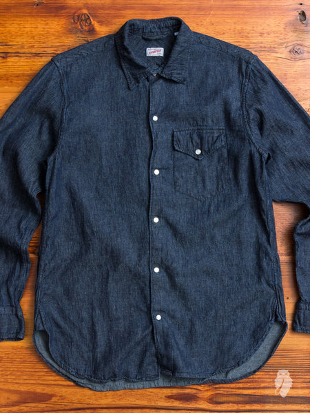 """Ted"" Denim Shirt in Washed Indigo"