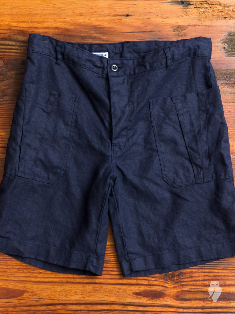 Linen Work Shorts in Navy