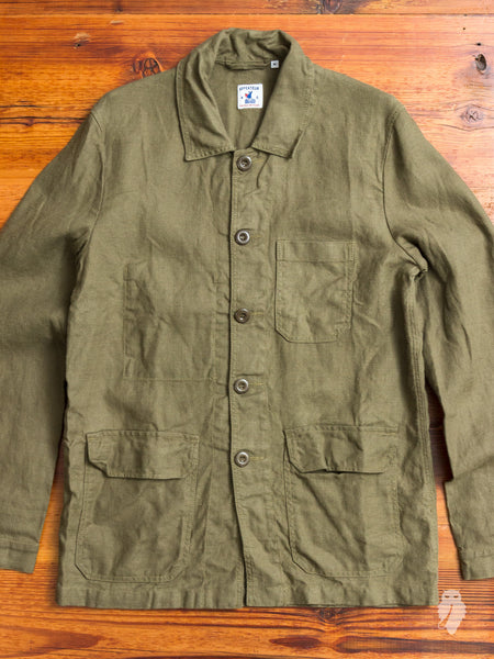 """Travail"" Linen Work Jacket in Olive"