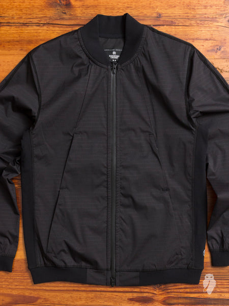 """Sea to Sky"" Stretch Ripstop Bomber Jacket in Black"