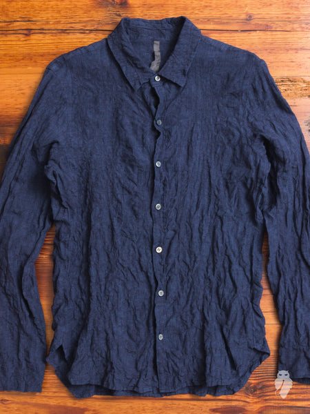 Distressed Chambray Button Down in Navy
