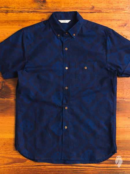 Bandana Button-Down Shirt in Indigo