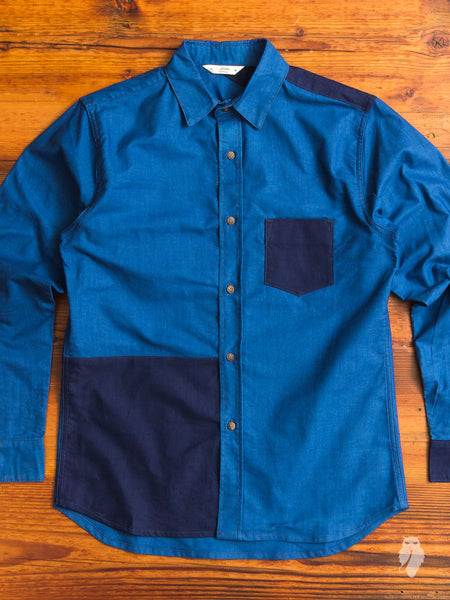 Crosscut Button-Down Shirt in Indigo Block